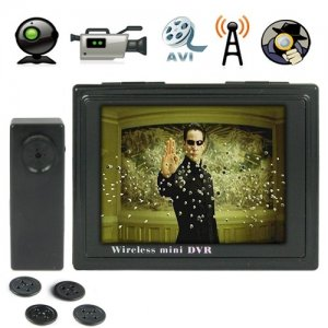 2.4GHz Wireless Recroding Buttom Camera + 4CH 3.5 Inch Wireless Receiver